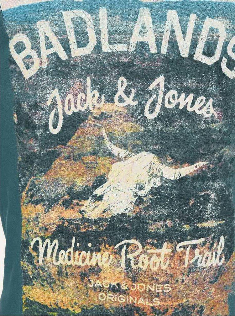 Hanorac albastru cu imprimeu Jack & Jones Wade