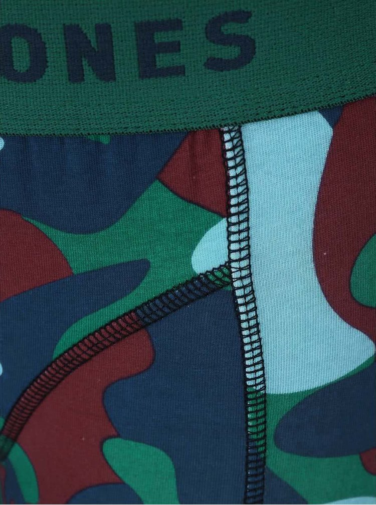 Modro-zelené maskáčové boxerky Jack & Jones Colour Camo