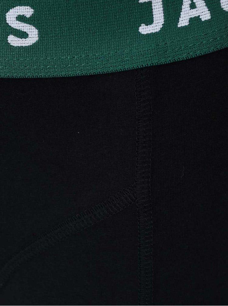 Černé boxerky se zeleným lemem Jack & Jones Color Donk