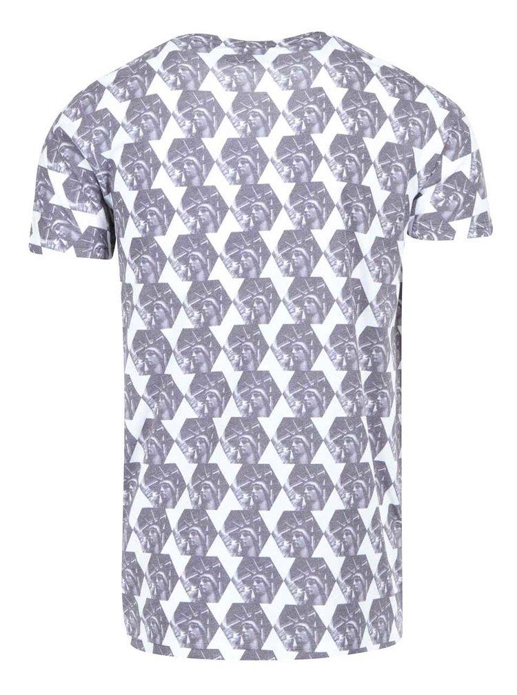 Tricou alb cu imprimeu gri Liberty Lindbergh