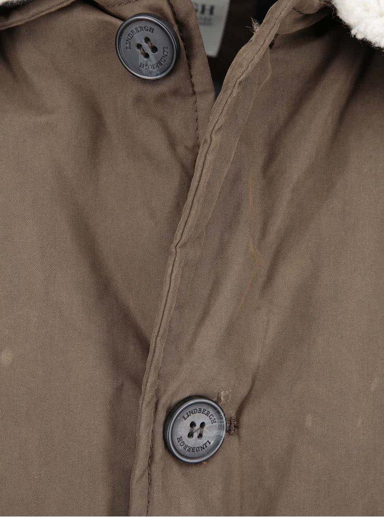 Hnědá bunda s kožešinovým límcem Lindbergh