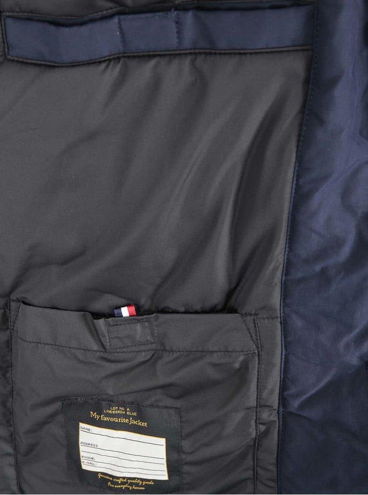 Tmavomodrá bunda s kožušinovým golierom Lindbergh