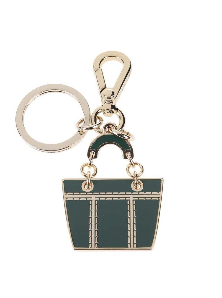 Tmavozelená dámska kľúčenka v tvare shoppera Tommy Hilfiger Signature