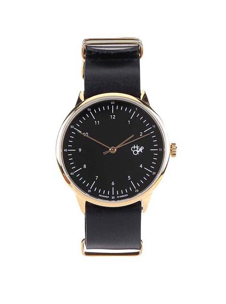 Unisex hodinky ve zlaté barvě s černým koženým páskem CHPO Harold Gold