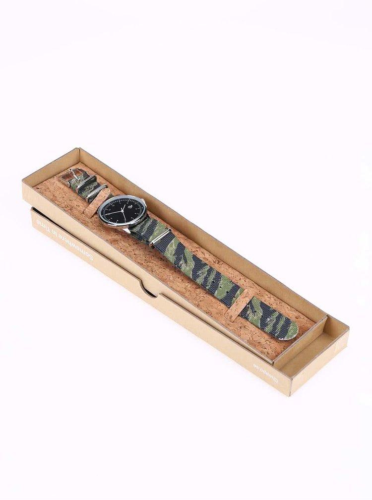 Pánske hodinky v striebornej farbe CHPO Harold Tiger Camo