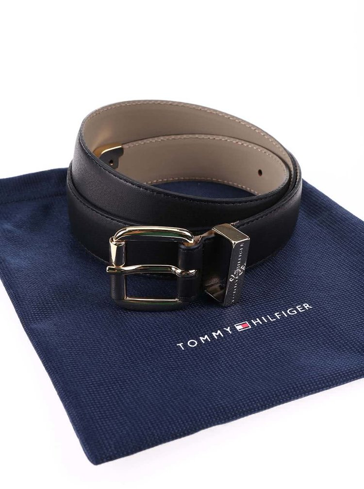 Čierny dámsky kožený opasok Tommy Hilfiger Melinda