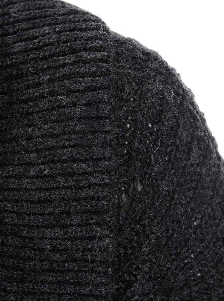 Černý cardigan s umělou kožešinou VERO MODA Hours