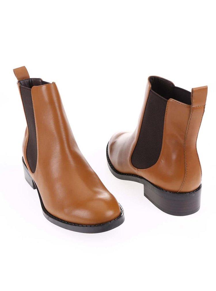 Hnědé dámské kožené boty ALDO Cydnee