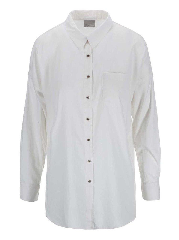 Krémová košeľa s rozparkami VERO MODA Classic