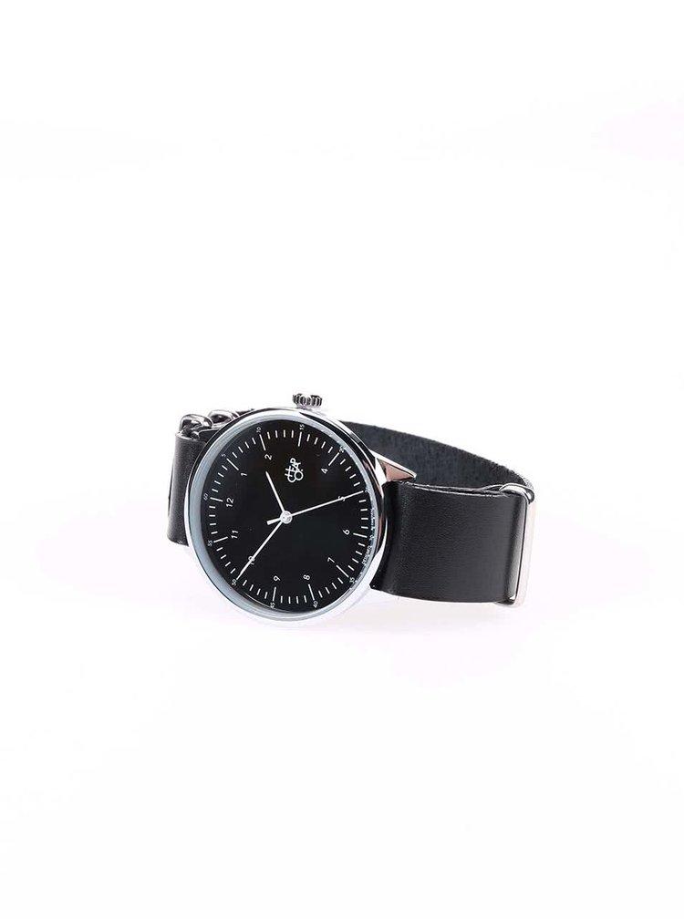 Unisex hodinky s černým koženým páskem CHPO Harold