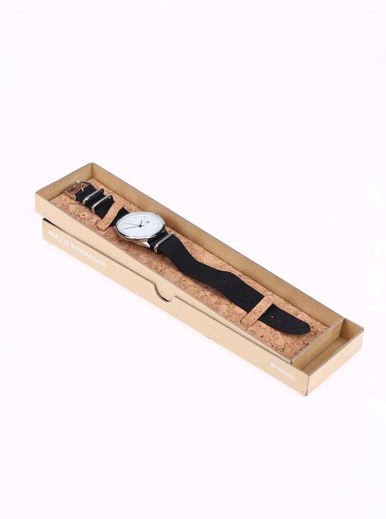 Unisex hodinky ve stříbrné barvě s černým textilním páskem Cheapo Harold Black