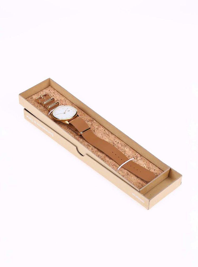 Unisex hodinky ve zlaté barvě s hnědým koženým páskem CHPO Harold Gold