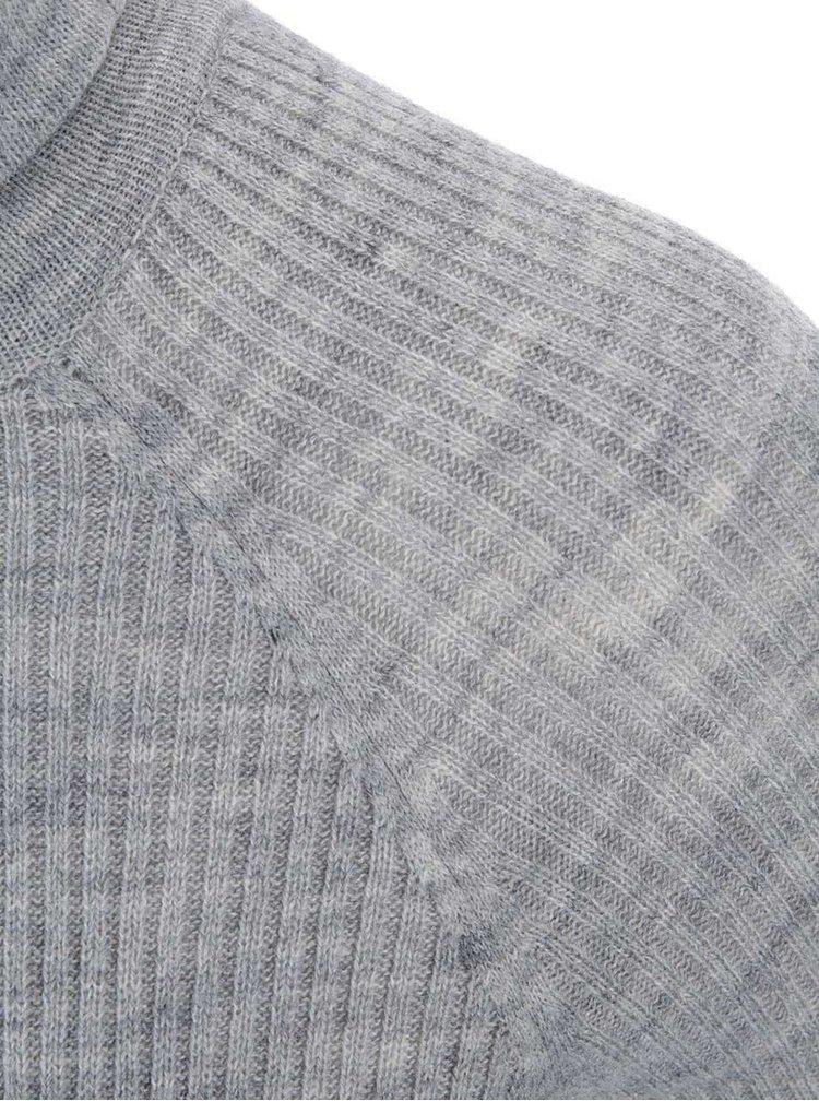 Rochie Cmyk tricotata gri deschis cu guler polo de la Noisy May