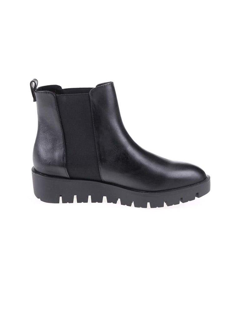 Čierne kožené členkové topánky ALDO Evora