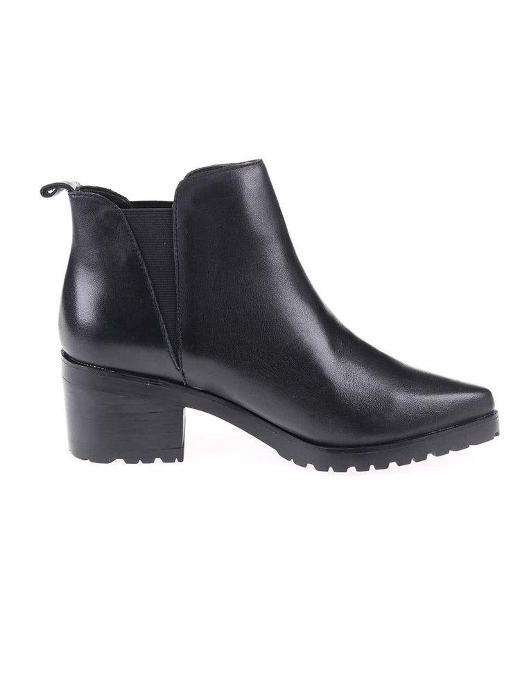 Černé kožené kotníkové boty ALDO Babbe