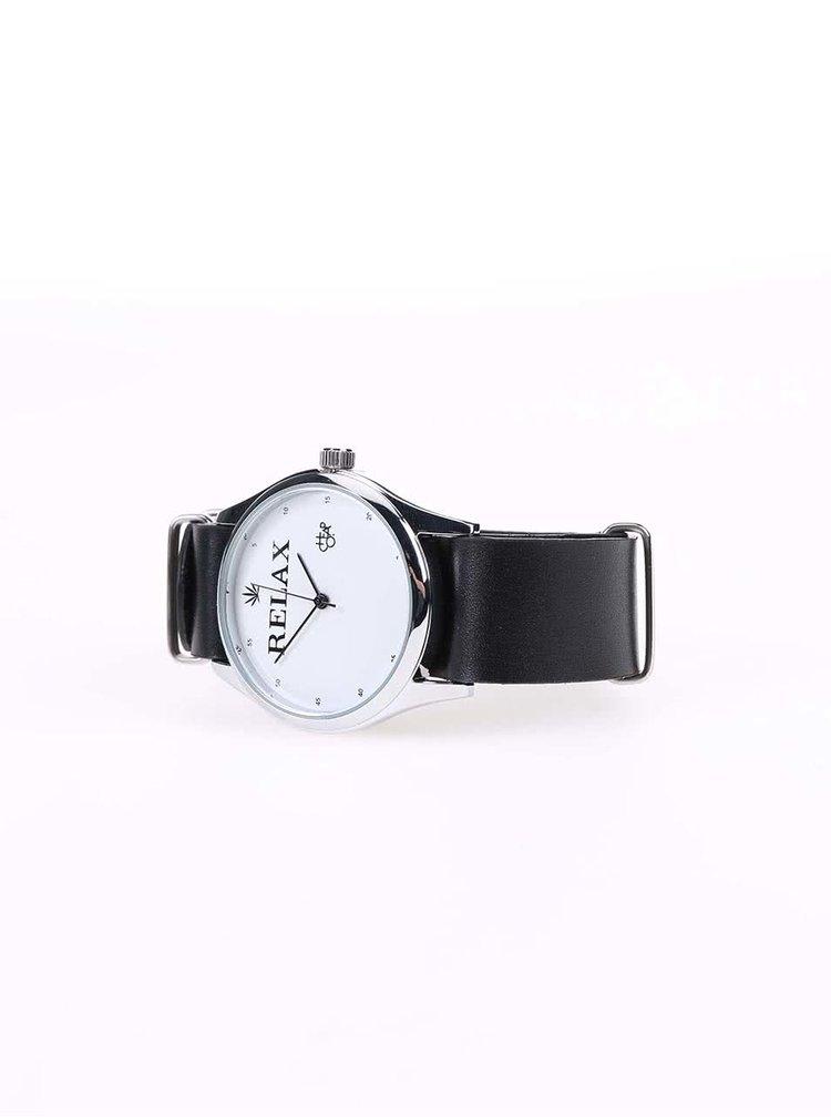 Unisex hodinky ve stříbrné barvě s černým koženým páskem CHPO Relax