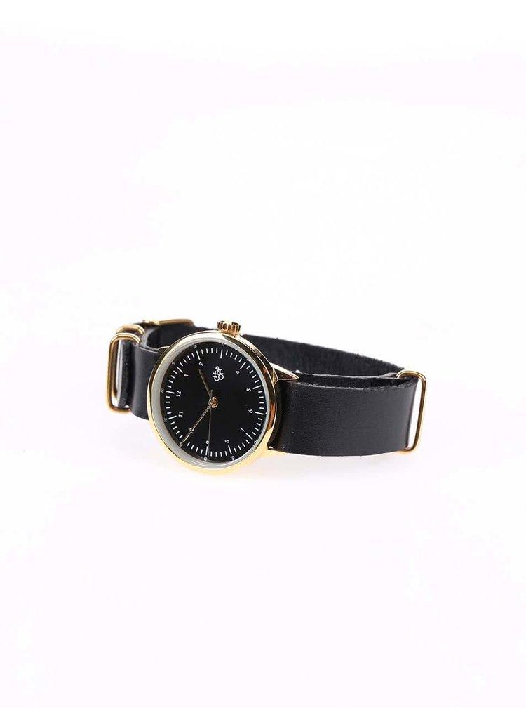 Dámske hodinky v zlatej farbe s čiernym koženým remienkom CHPO Harold Mini Gold