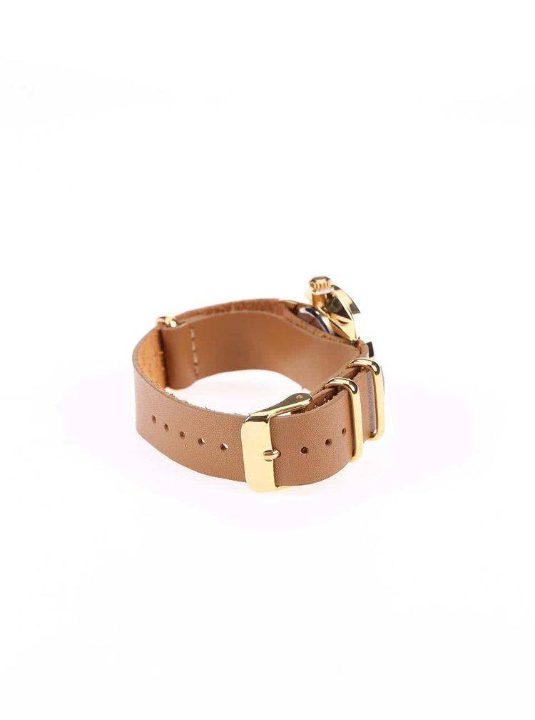 Ceas maro deschis cu curea din piele pentru femei CHPO Harold Mini Gold