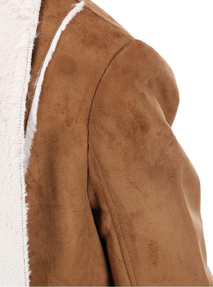 Hnedý blejzer s krémovým kožúškom Dorothy Perkins