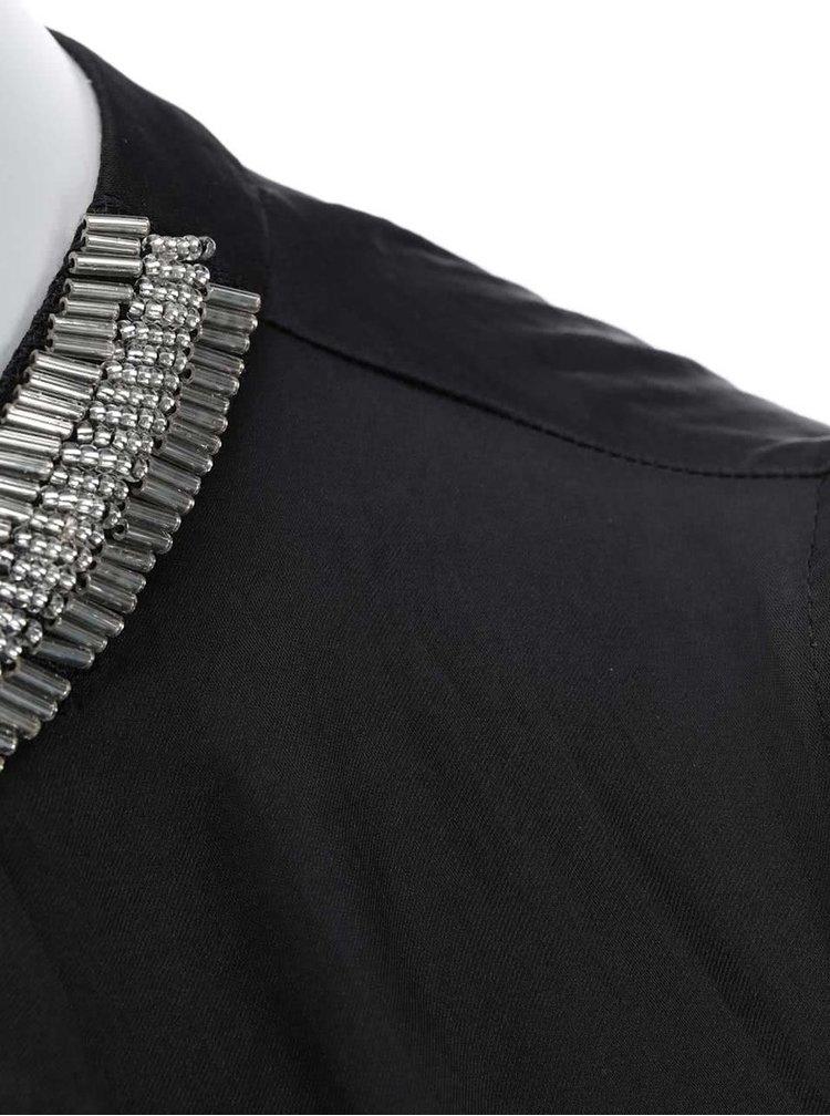 Bluza neagra cu decolteu decorat Dorothy Perkins
