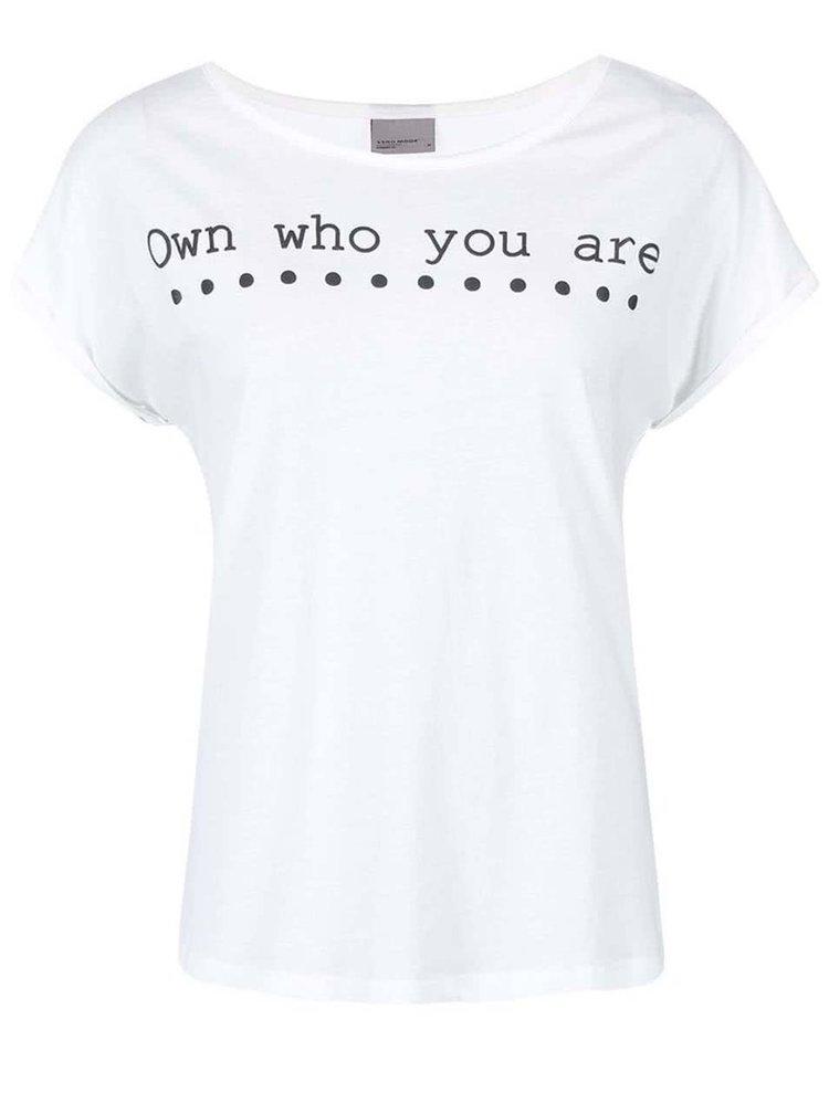 Tricou Own Print, de la VERO MODA, alb cu imprimeu