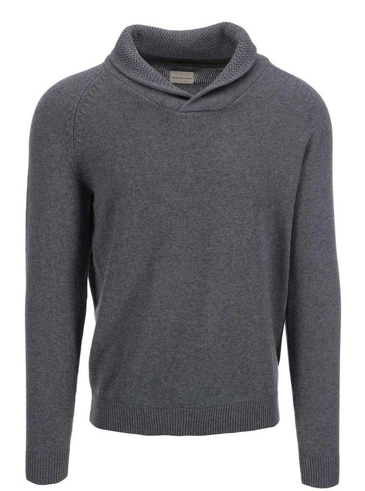 Sivý sveter s golierom Selected Eldon