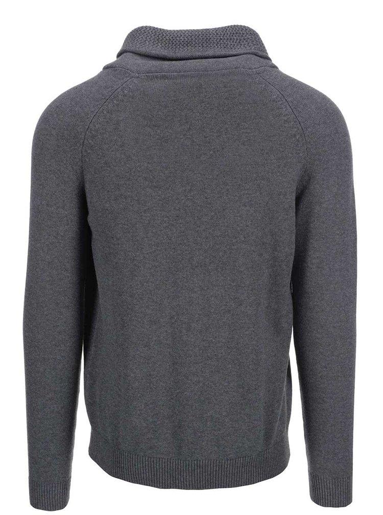 Šedý svetr s límcem Selected Eldon