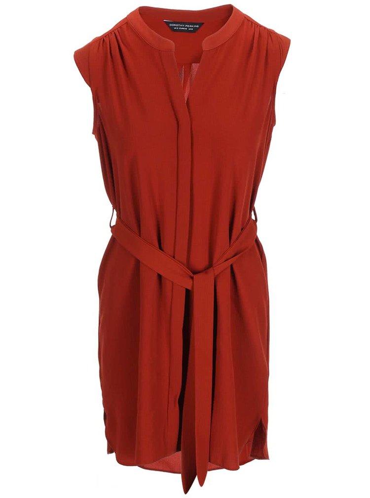Tehlové šaty bez rukávov Dorothy Perkins