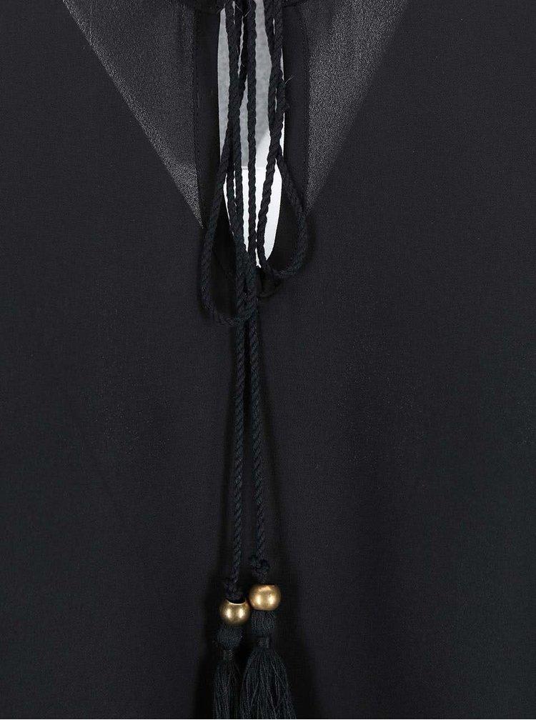 Černá halenka s krajkovým lemem Dorothy Perkins