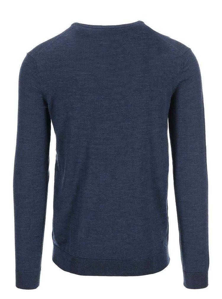 Modrý véčkový sveter z Merino vlny Selected Tower