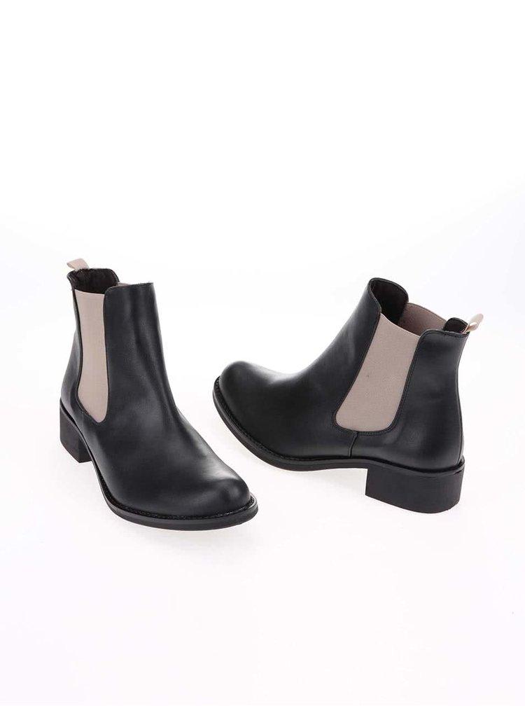 Béžovo-černé kotníkové chelsea boty OJJU