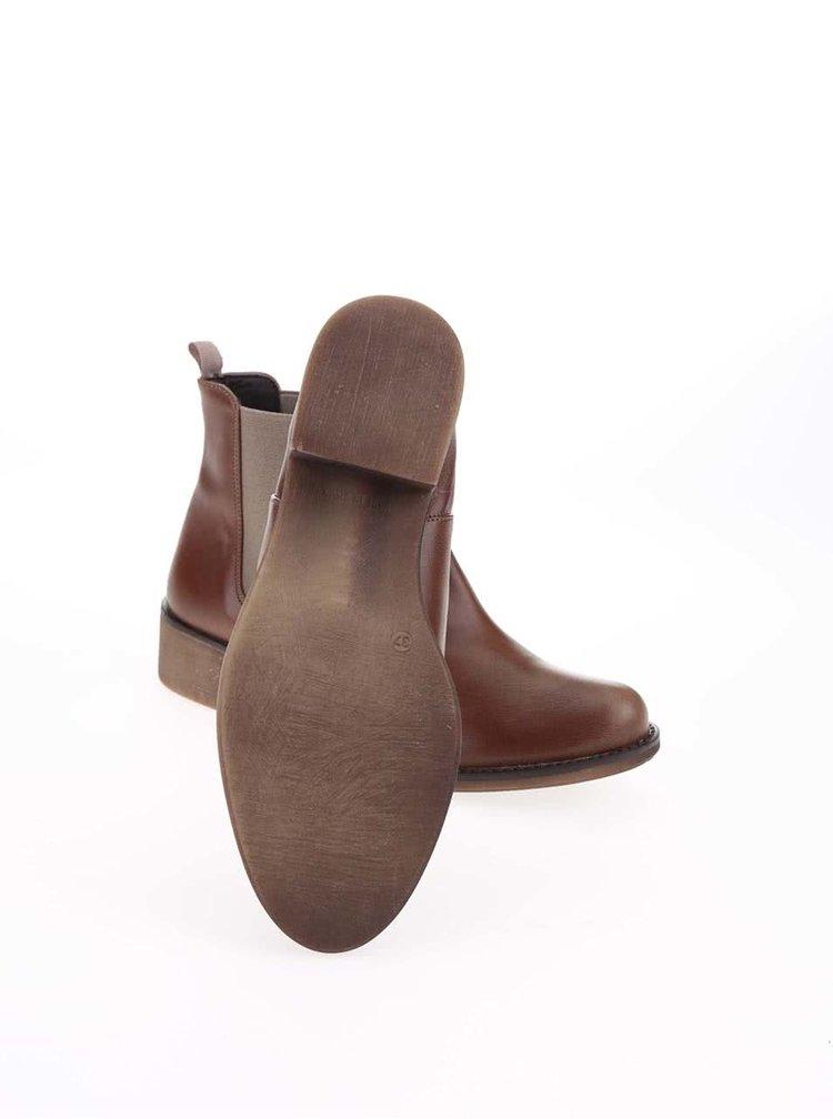 Hnedé členkové chelsea topánky OJJU  fd6d260f003