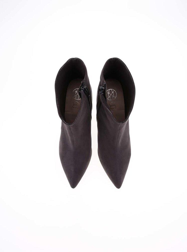 Tmavosivé topánky na podpätku OJJU