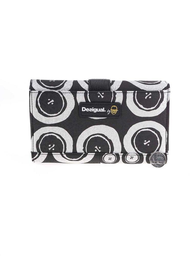 Bielo-čierna vzorovaná peňaženka so striebornými odleskami Desigual