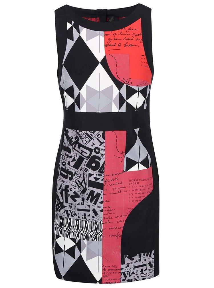 Čierne šaty so vzorom Desigual Delia
