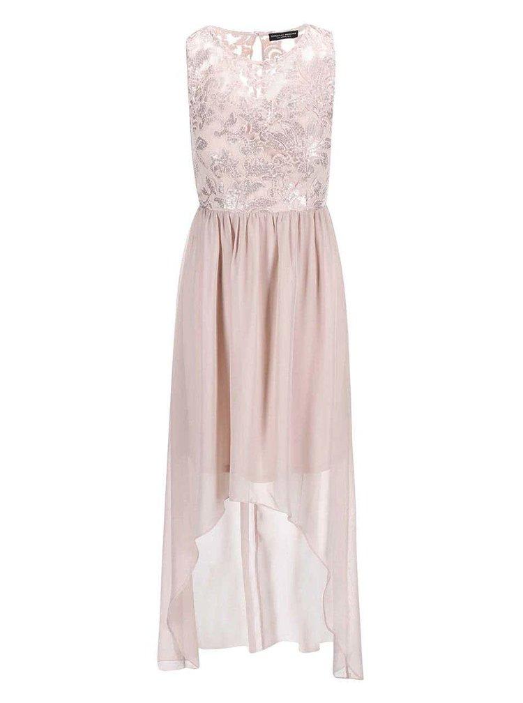 Béžové šaty s flitrovaným topom Dorothy Perkins