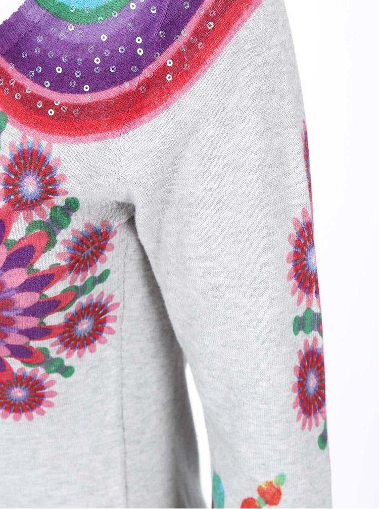 Šedý svetr s barevným vzorem Desigual She