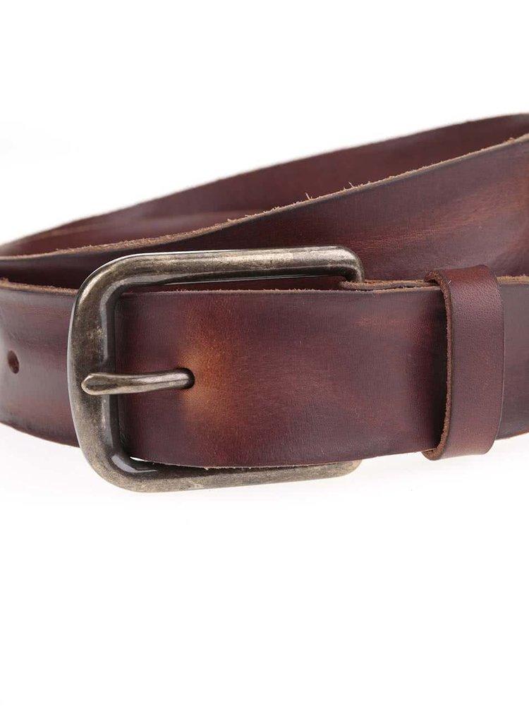 Hnedý kožený opasok Jack & Jones Brice
