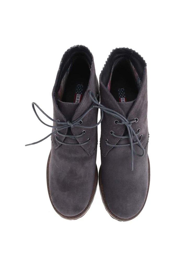 Šedé dámské kožené boty na podpatku U.S. Polo Assn. Maruska