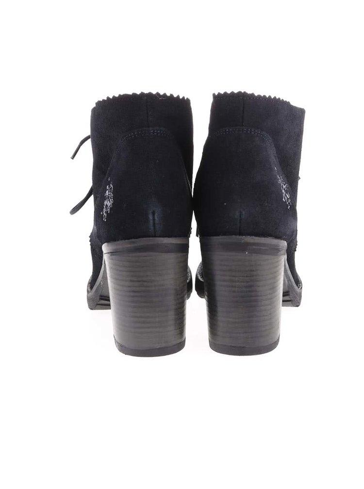 Tmavě modré dámské kožené boty na podpatku U.S. Polo Assn. Maruska