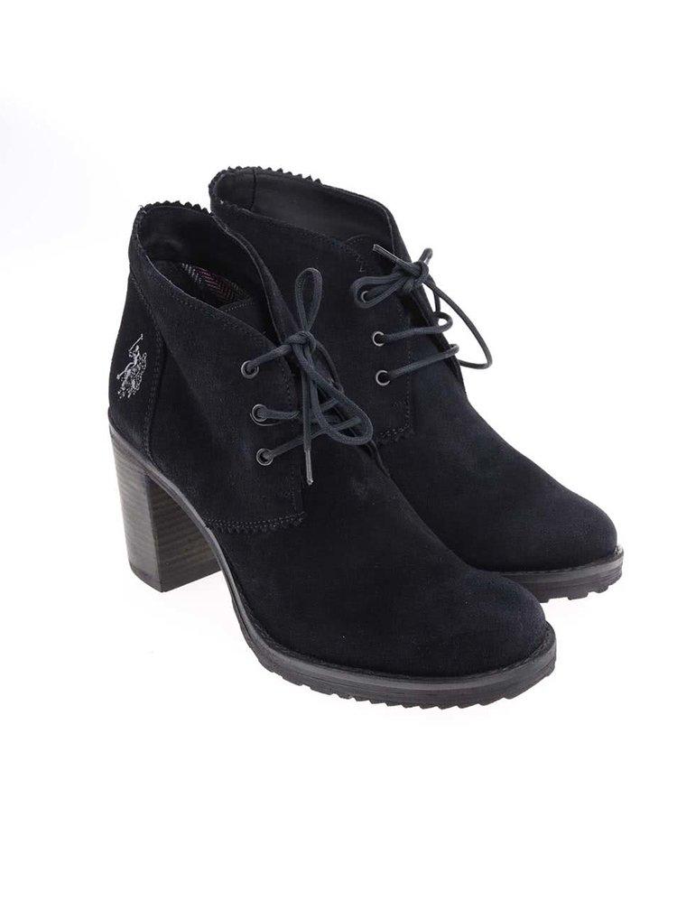 Tmavomodré dámske kožené topánky na podpätku U.S. Polo Assn. Maruska