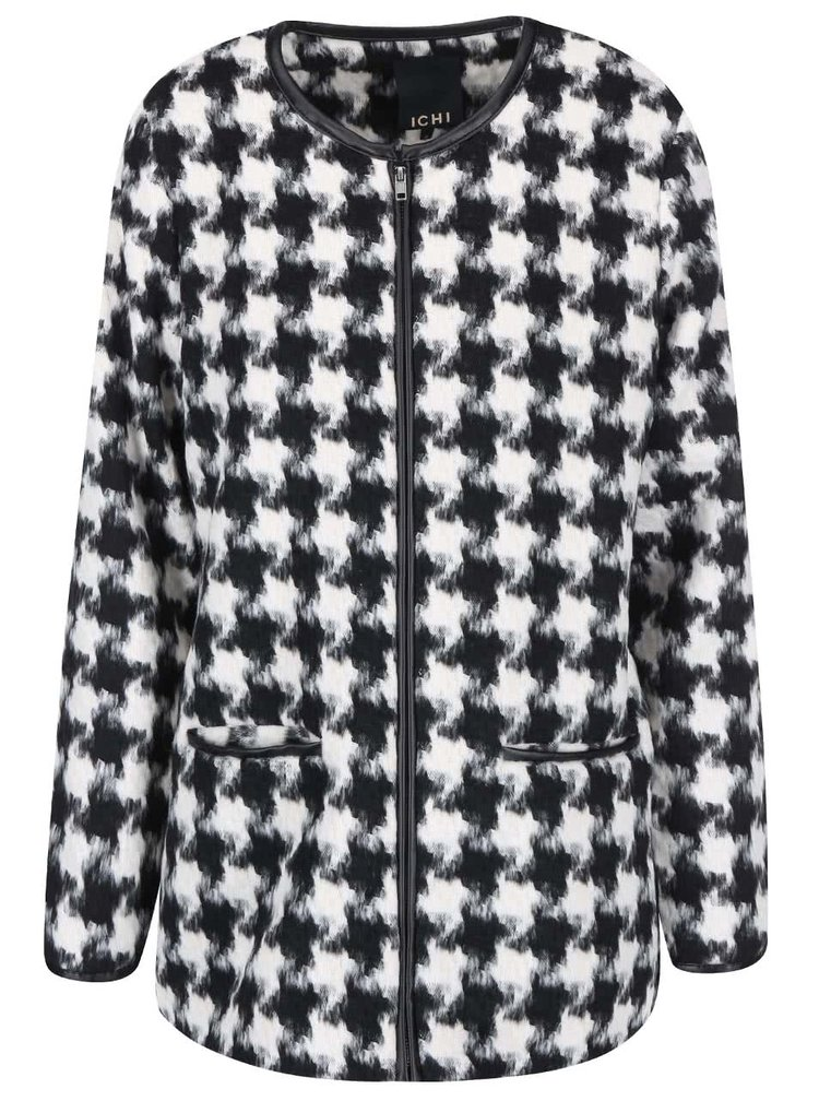Bielo - čierny kabát s kohúťou stopou ICHI Seoul