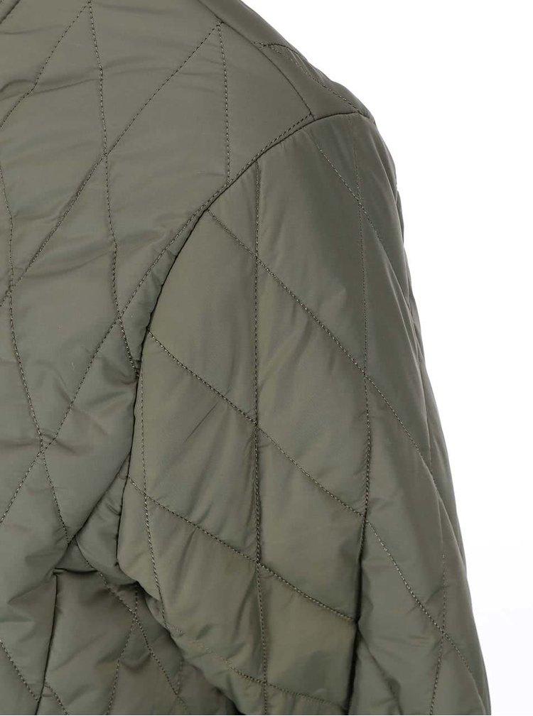 Kaki prešívaná dlhšia bunda ICHI Tia