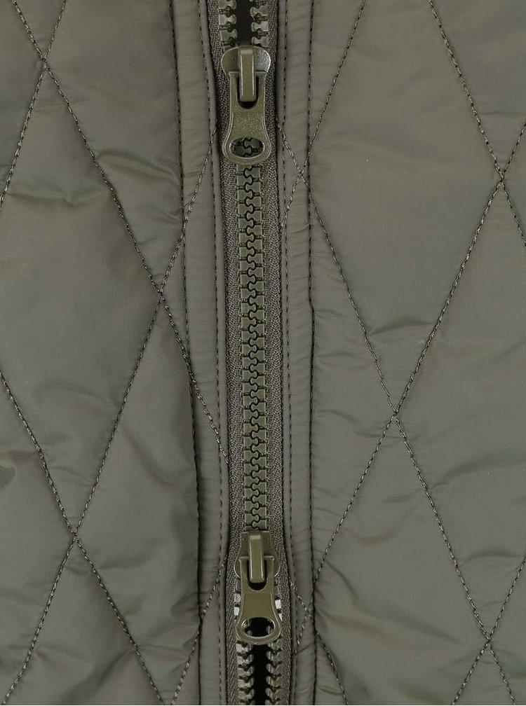 Khaki prošívaná delší bunda ICHI Tia