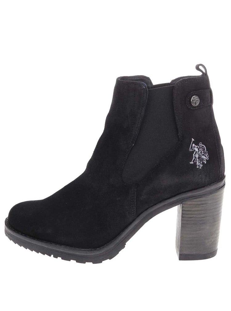 Černé kožené kotníkové boty na podpatku U.S. Polo Assn. Mia