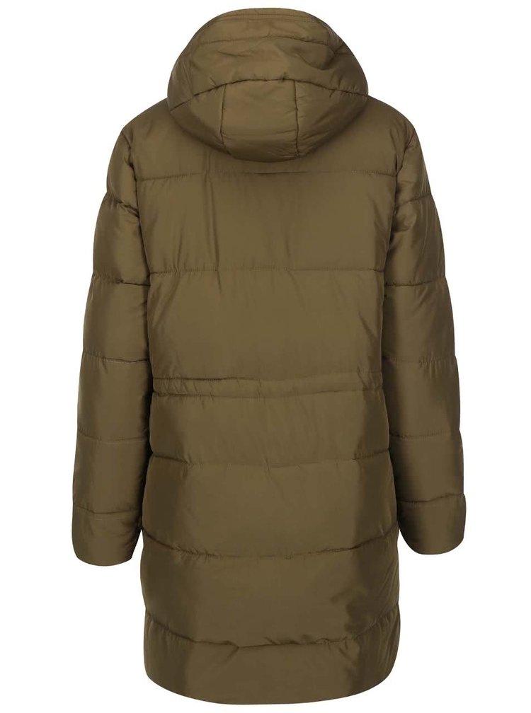 Khaki delší prošívaný kabát ICHI Sisk