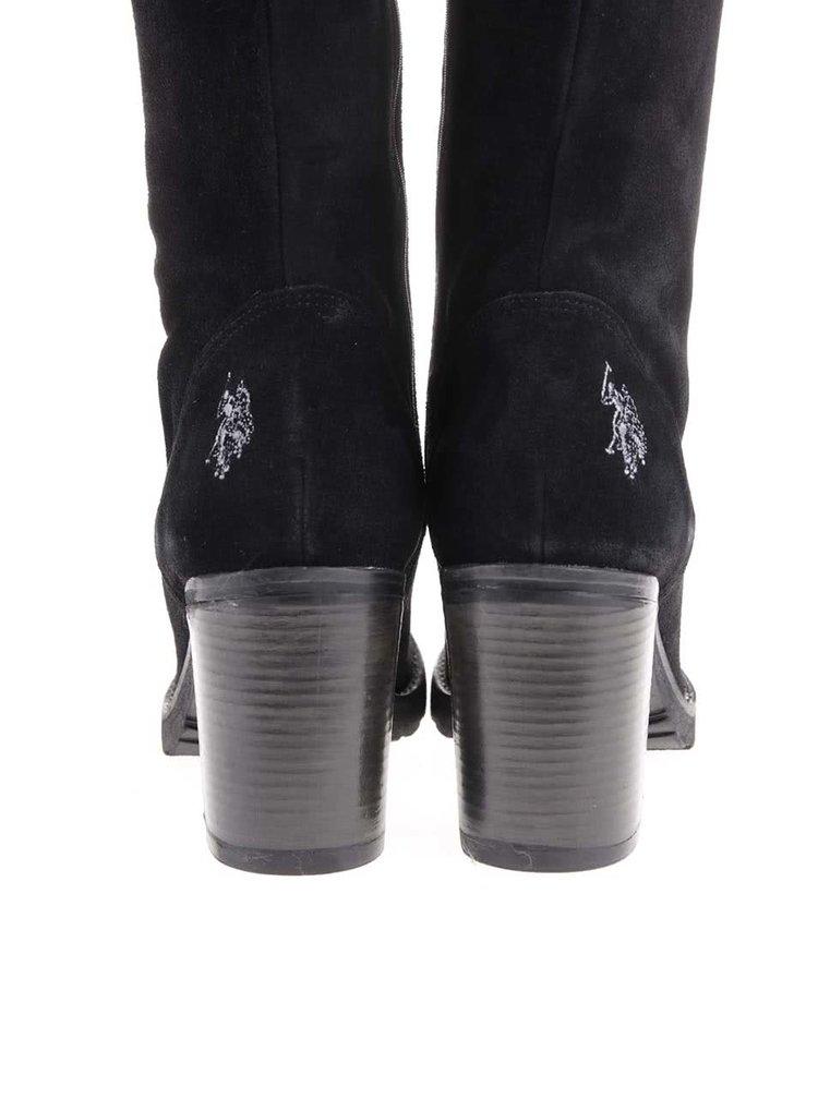 Černé kožené kozačky na podpatku U.S. Polo Assn. Malena