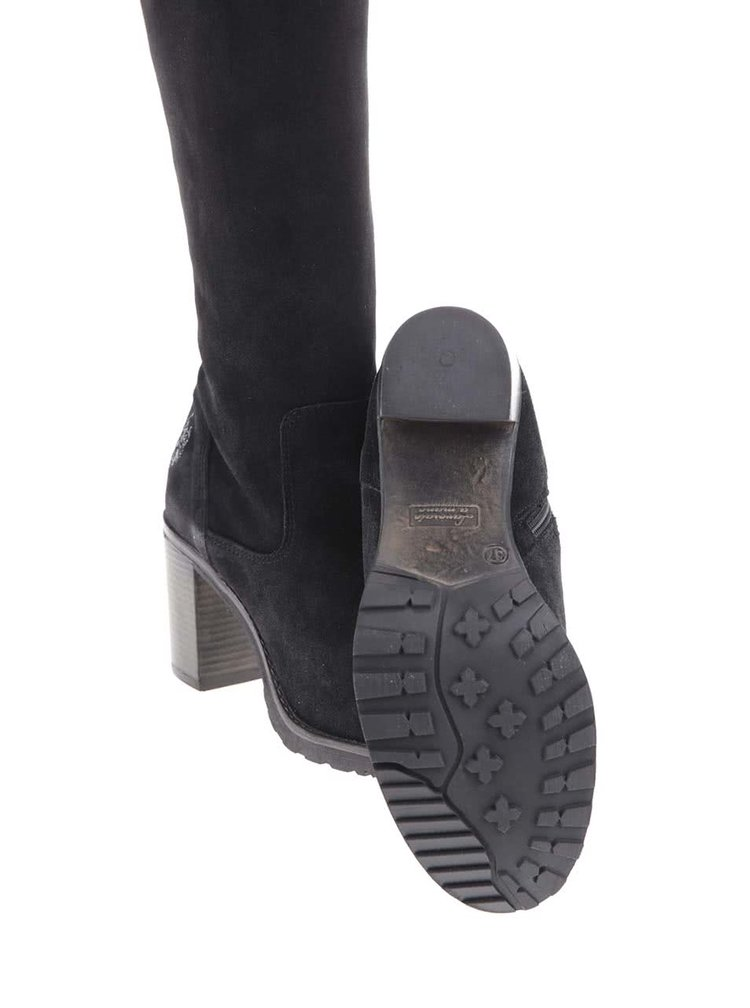 Čierne kožené čižmy na podpätku U.S. Polo Assn. Malena