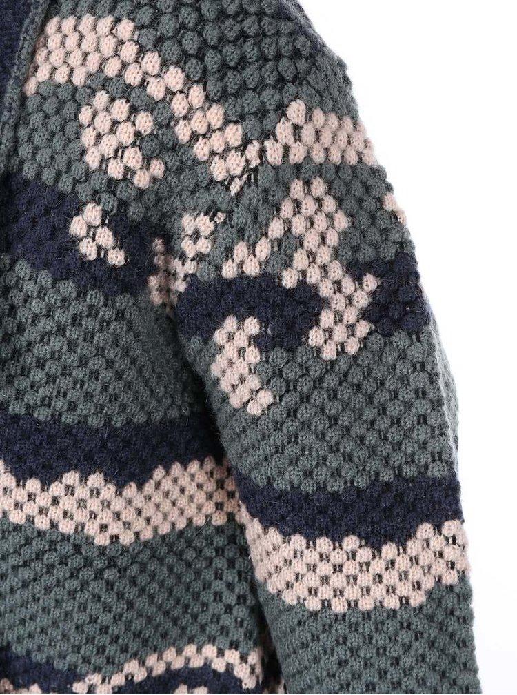 Modro-zelený vzorovaný cardigan s opaskom ICHI Meiko