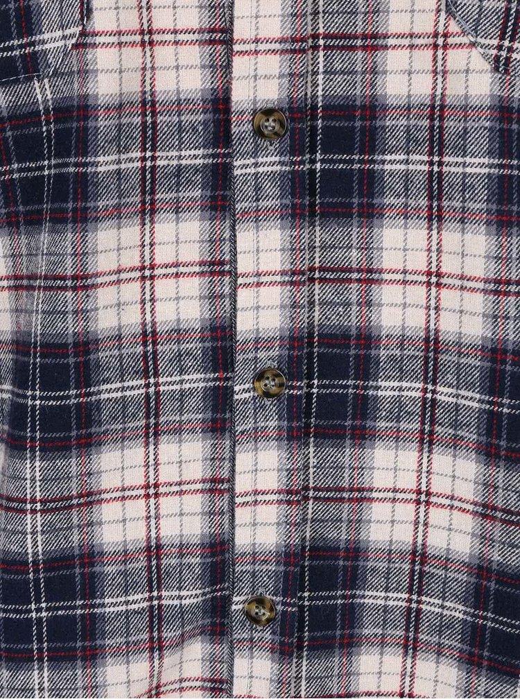 Krémovo-modrá kockovaná košeľa D-Struct Raymonde